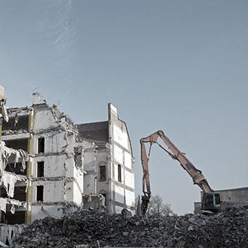 One Demolition crane at work